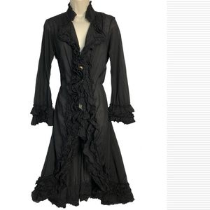 Cordelia Anthropologie M Ruffled Frock Coat